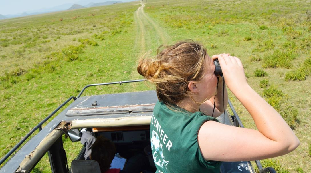 ケニアのソイサムブ自然保護区で野生動物の生態系調査にあたる環境保護ボランティア